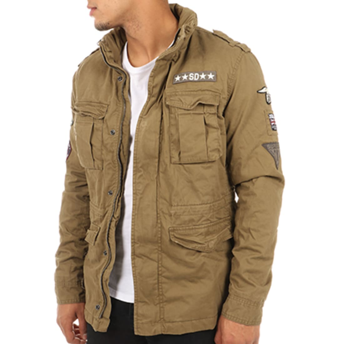 Superdry Veste Zippée Patchs Brodés Rookie Military Vert