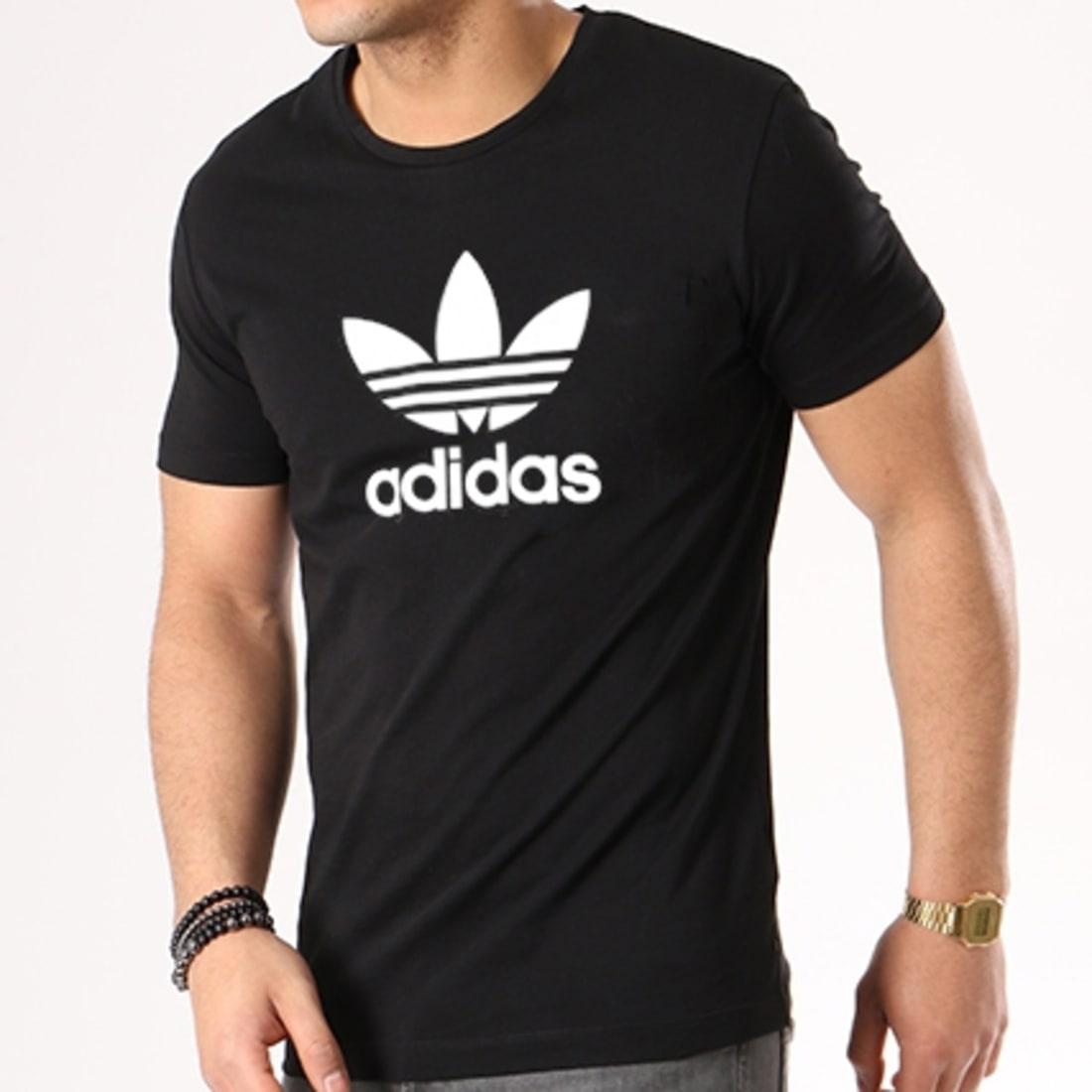 adidas Tee Shirt Trefoil CW0709 Noir Blanc