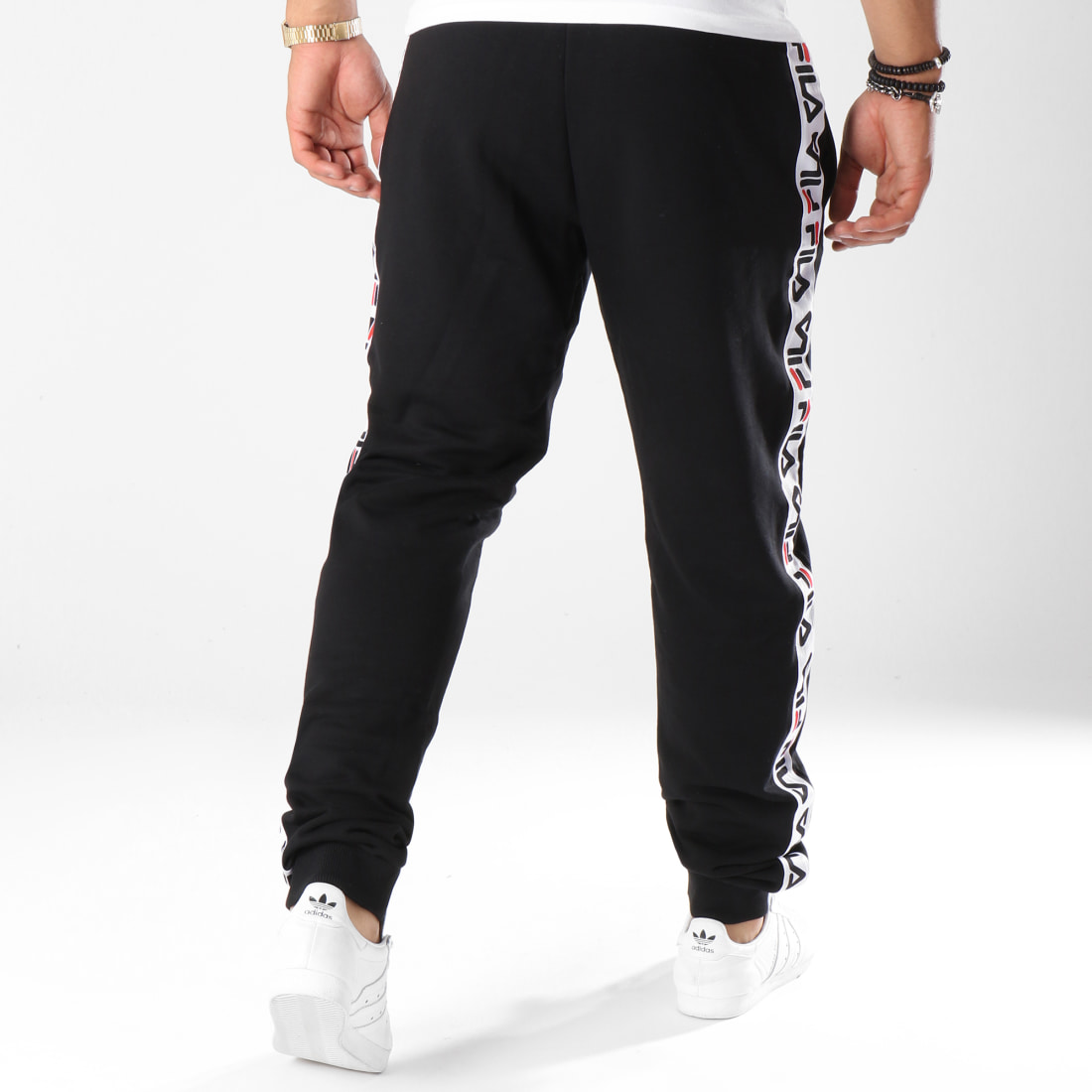 Fila Pantalon Jogging Bande Brodée Tadeo 682365 Noir Blanc