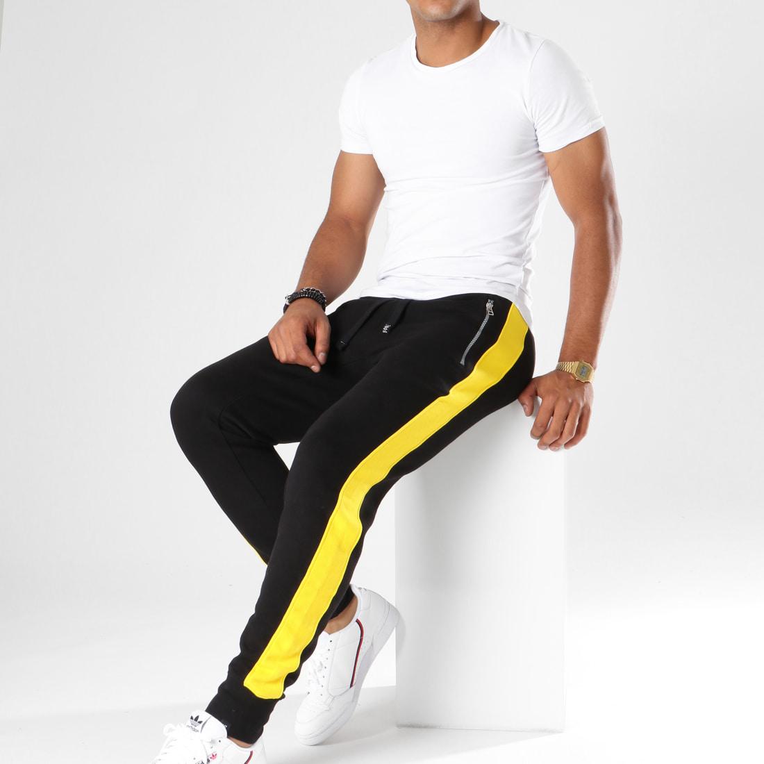 Hechbone Pantalon Jogging Avec Bandes Kin Noir Jaune