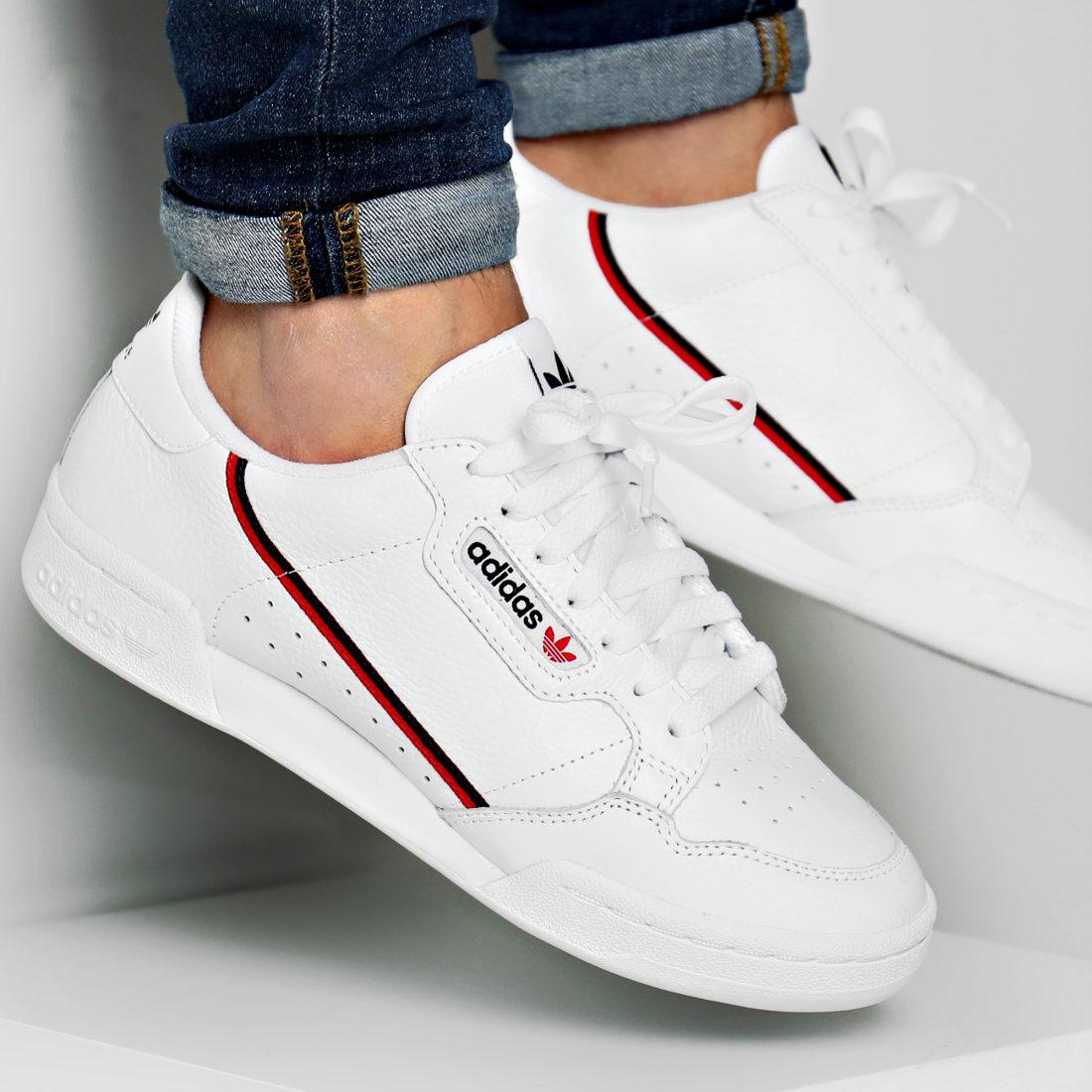 adidas - Baskets Continental 80 G27706 Footwear White Scarlet Core ...