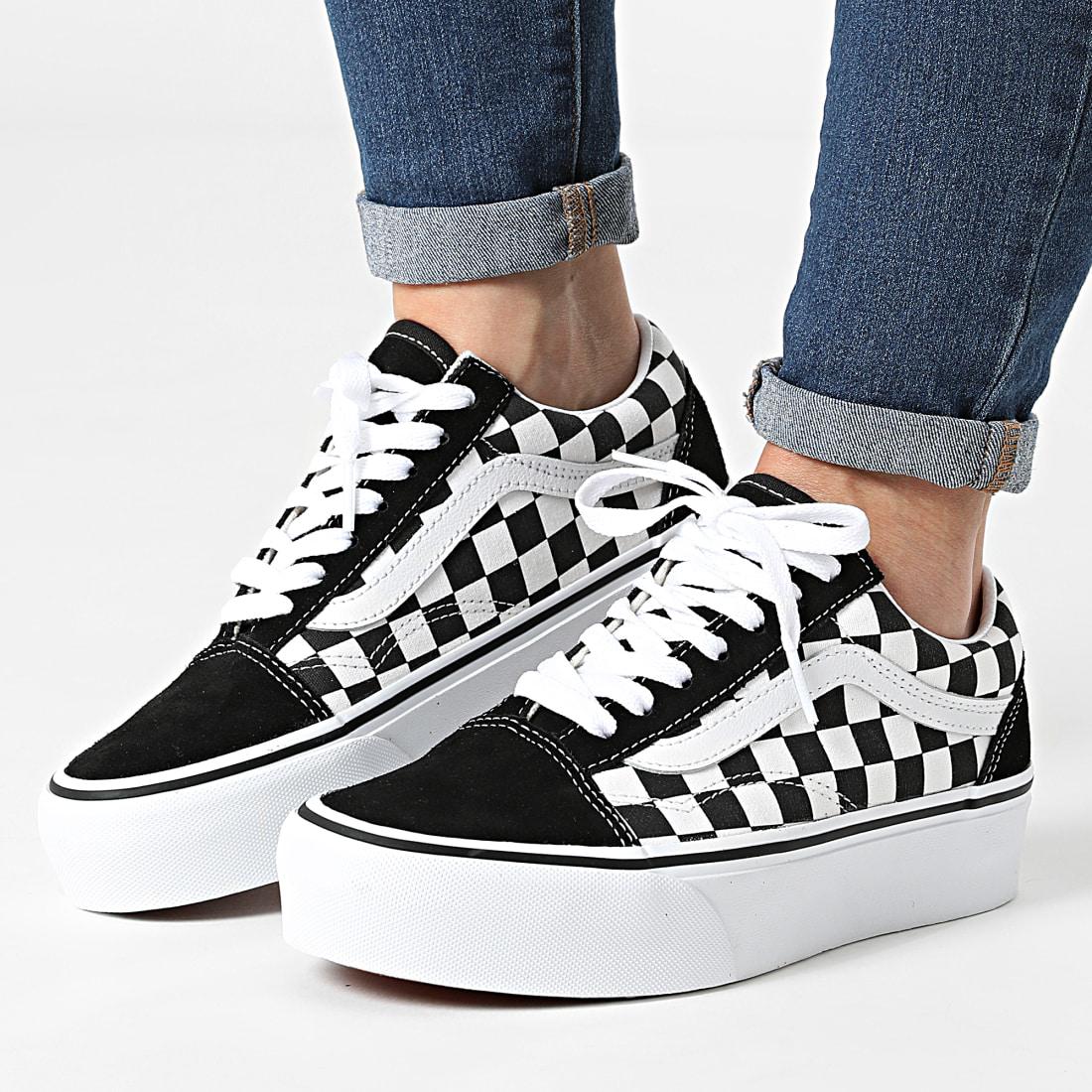 Vans - Baskets Femme Old Skool Platform 3B3U Black White ...