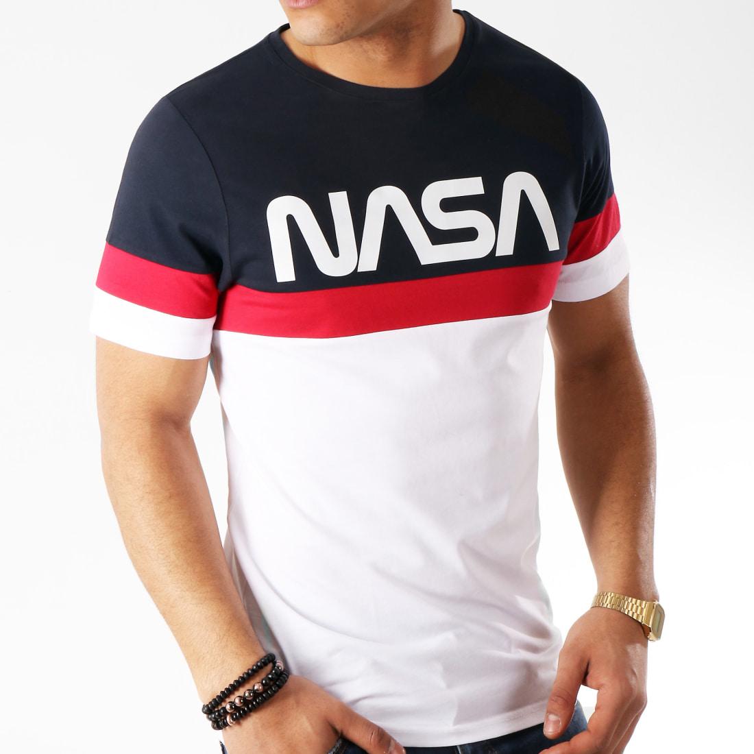 NASA Tee Shirt Tape Tricolore Bleu Marine Blanc Rouge