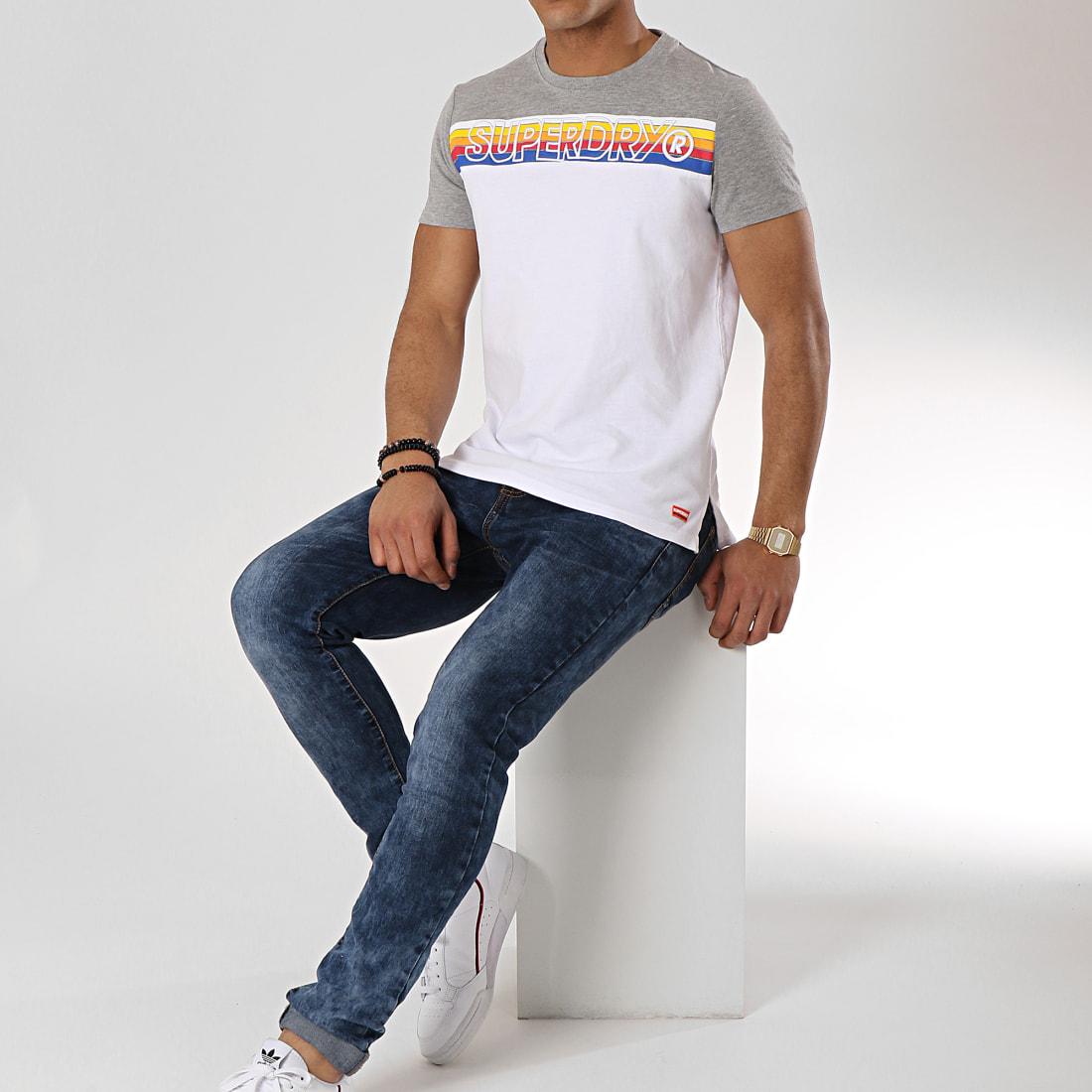 Tee Shirt Cali Stripe Embroidery M10104TT Blanc