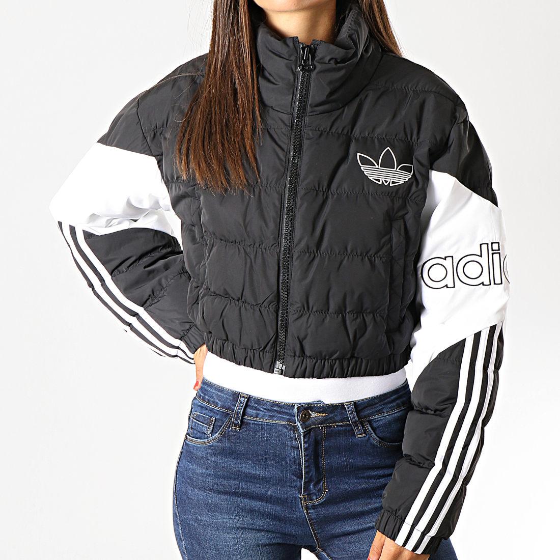 adidas Doudoune ED7598 Cropped Noir Blanc Femme Puffer gf6y7b
