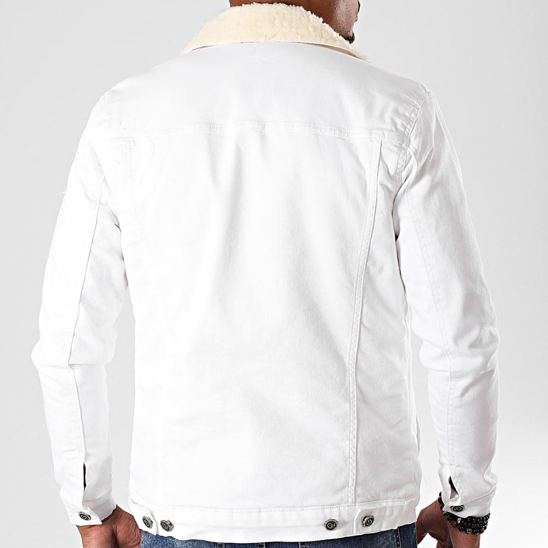 Black Needle Veste En Jean A Col Mouton 5007 Blanc Ecru