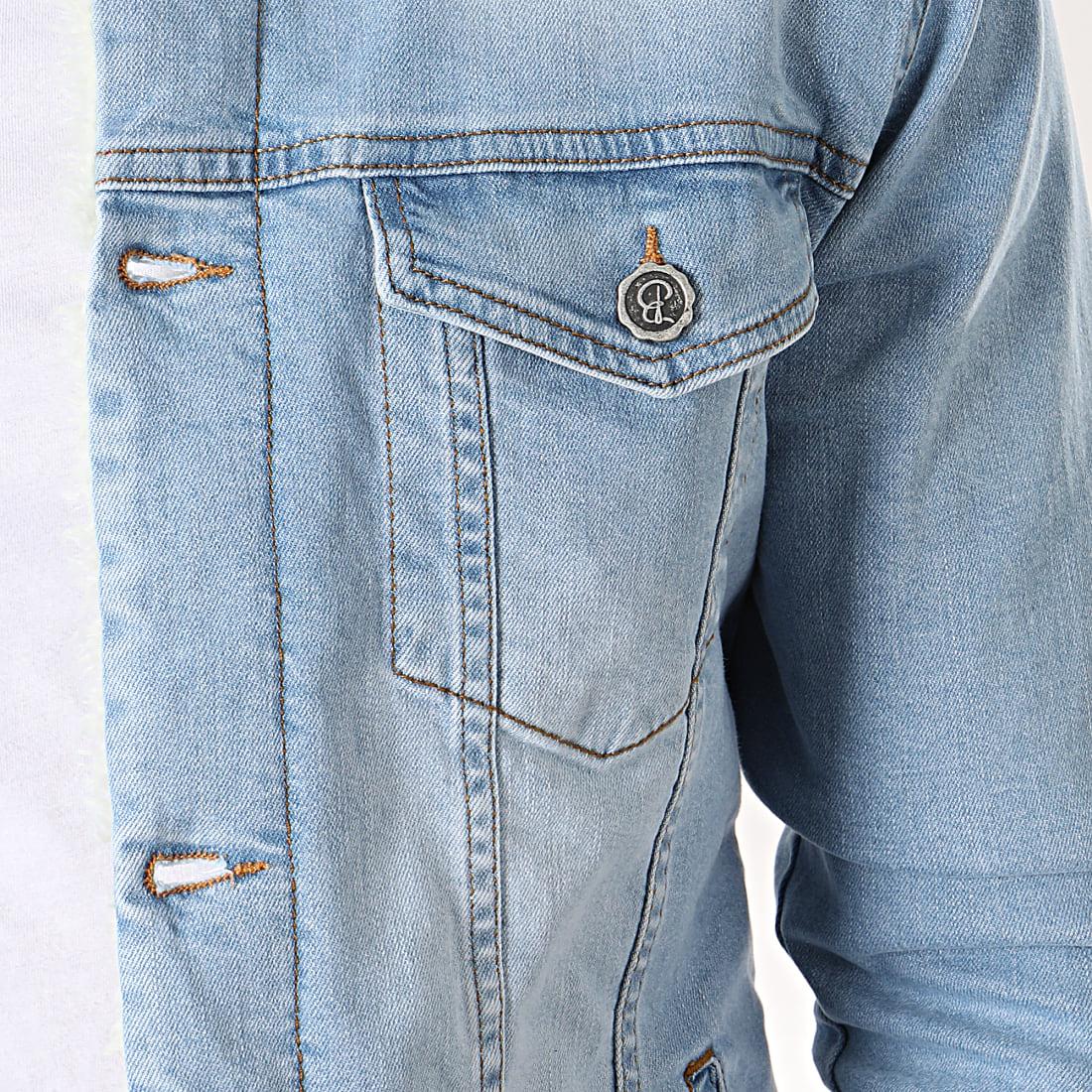 Black Needle Veste En Jean A Col Mouton 5000 Bleu Wash