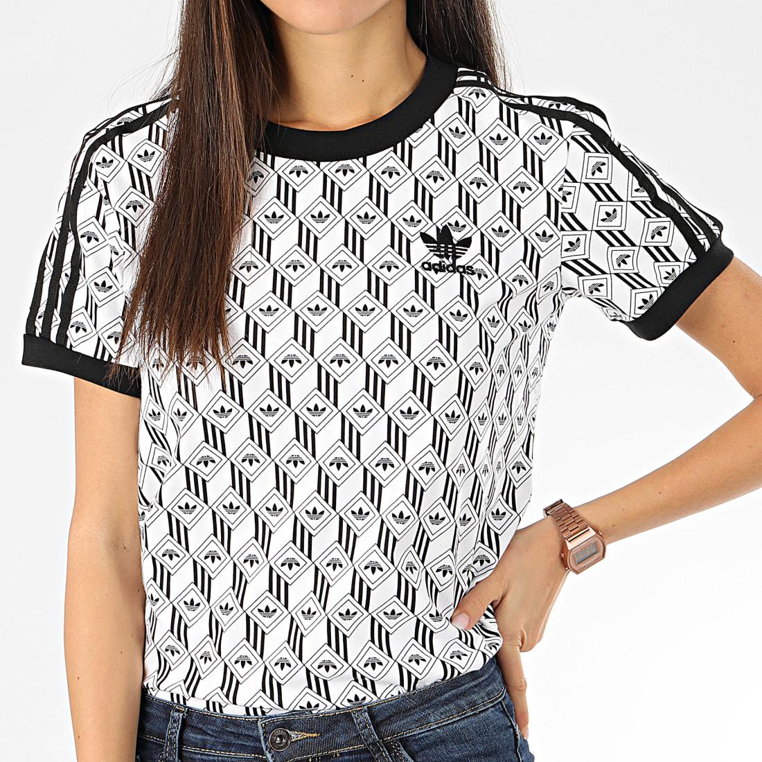 adidas Tee Shirt Femme A Bandes FM1070 Blanc Noir