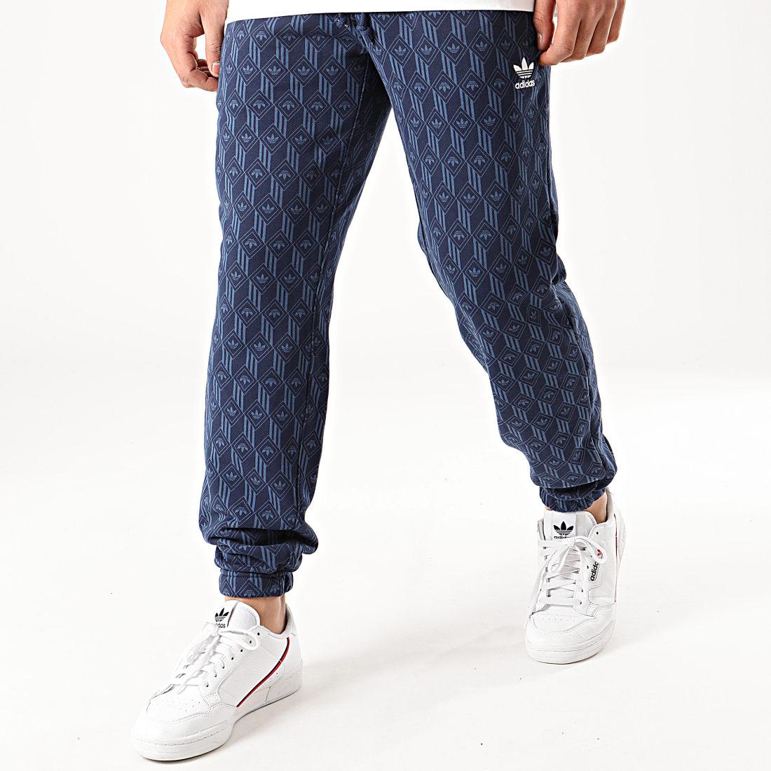 adidas Pantalon Jogging Mono All Over Print FM3410 Bleu