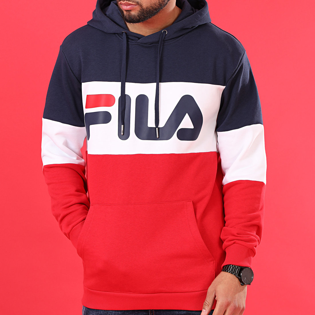 Fila Sweat Capuche Tricolore 688051 Night Blocked Rouge