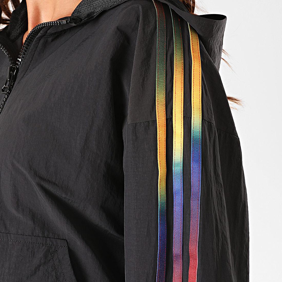 adidas - Coupe-Vent Femme Crop A Bandes GD2262 Noir - LaBoutiqueOfficielle.com