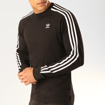 Tee Shirt Manches Longues Avec Bandes 3 Stripes DV1560 Noir Blanc