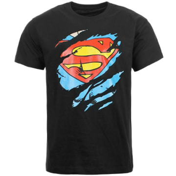 DC Comics - Tee Shirt Superman Tear Up Noir