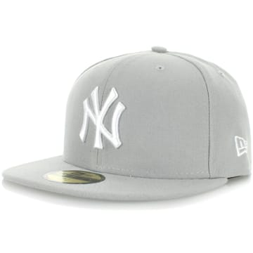 Casquette Snapback Fitted 59Fifty NY Yankees Basic Gris Blanc
