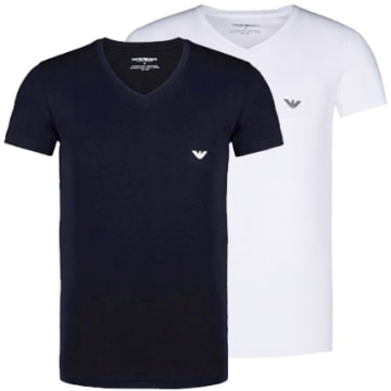 Emporio Armani - Lot De 2 Tee Shirts Emporio Armani V Neck Blanc Bleu Marine