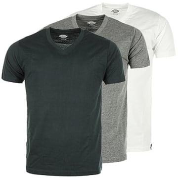 Lot de 3 Tee Shirt Col V Noir Gris Blanc