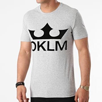 OKLM - Tee Shirt Big Logo Gris Typo Noir