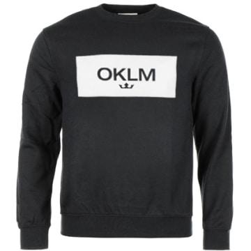 OKLM - Sweat Crewneck Small Crown Noir Typo Blanc