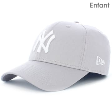 New Era - Casquette Baseball Enfant 940 MLB League Basic New York Yankees Gris Blanc