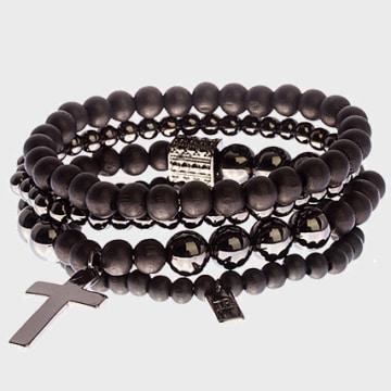 Icon Brand - Lot De 4 Bracelets Try Noir