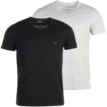 Emporio Armani - Lot De 2 Tee Shirts 111648 CC722 Noir Gris Chiné