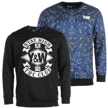 Y et W - Sweat Crewneck Réversible Constellation Bleu Marine Noir