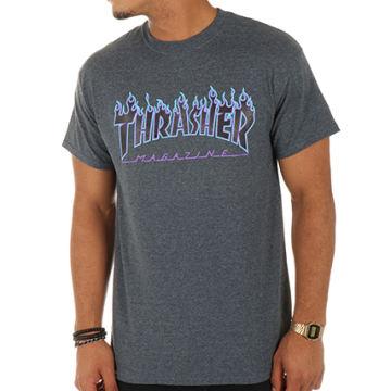 Thrasher - Tee Shirt Flame Gris Anthracite Bleu Violet