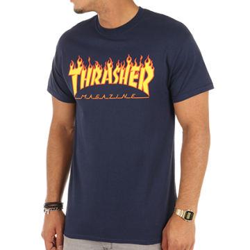 Thrasher - Tee Shirt Flame Bleu Marine
