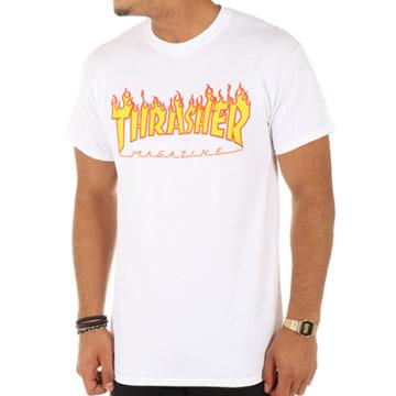 Thrasher - Tee Shirt Flame Blanc