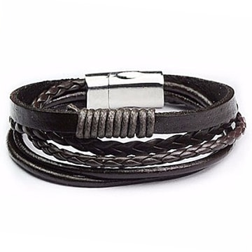 California Jewels - Bracelet Leather Magnetic Marron