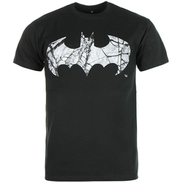 DC Comics - Tee Shirt Batman Cracked Logo Noir