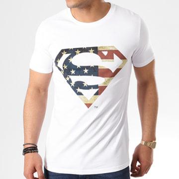 DC Comics - Tee Shirt Superman America Logo Blanc