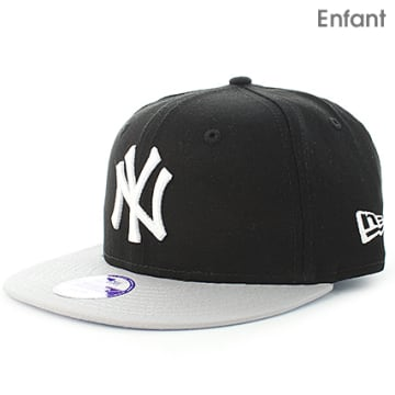 Casquette Snapback Enfant MLB Cotton Block New York Yankees Noir Gris