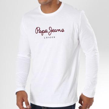 Pepe Jeans - Tee Shirt Manches Longues Eggo Blanc