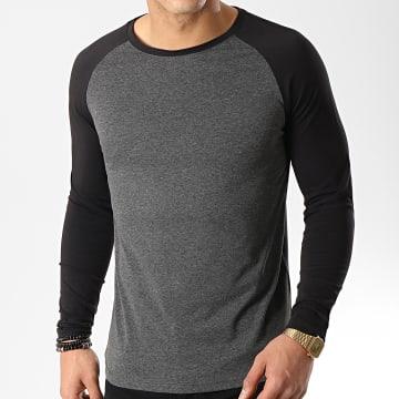 Tee Shirt Manches Longues Raglan 48-1 Noir Gris Anthracite