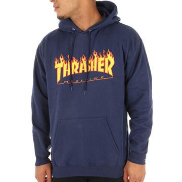 Thrasher - Sweat Capuche Flame Logo Bleu Marine