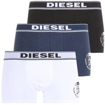 Diesel - Lot De 3 Boxers The Essential Noir Blanc Bleu Marine
