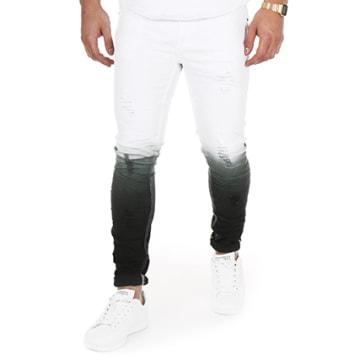 Jean Slim A1528 Blanc Dégradé Noir