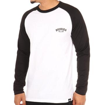 Tee Shirt Manches Longues Baseball Blanc Noir