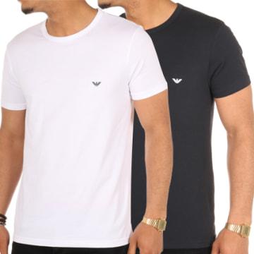Emporio Armani - Lot De 2 Tee Shirts 111267-CC717 Blanc Bleu Marine