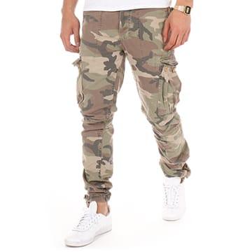 Le Temps Des Cerises - Pantalon Cargo Mirador Camouflage Marron Vert Kaki Ecru