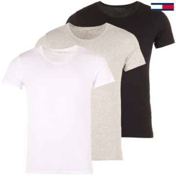 Tommy Hilfiger - Lot De 3 Tee Shirts Crew-Neck Premium Essentials Blanc Noir Gris