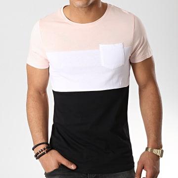 Tee Shirt Poche 211 Rose Pale Blanc Noir