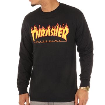 Thrasher - Tee Shirt Manches Longues Flame Logo Noir