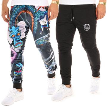 Y et W - Pantalon Jogging Reversible Dragon Noir Bleu Marine