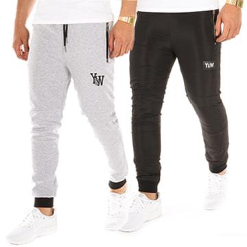 Y et W - Pantalon Jogging Reversible Noir Gris