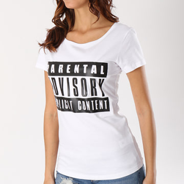 Parental Advisory - Tee Shirt Femme Classic Logo Blanc