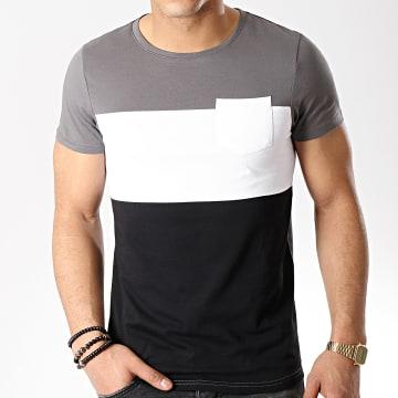 Tee Shirt Poche 189 Gris Blanc Noir