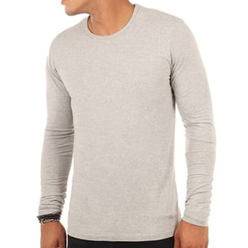 Pepe Jeans - Tee Shirt Manches Longues Original Basic Gris Chiné