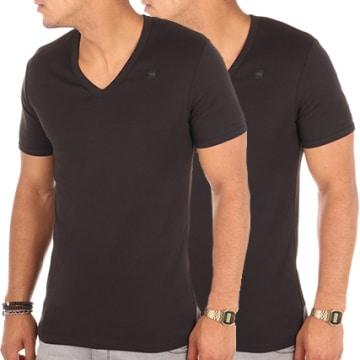 G-Star - Lot De 2 Tee Shirts V-Neck D07207-124 Noir